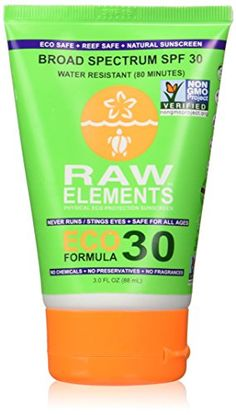 sunscreen Raw Elements Eco Form Sunscreen, SPF 30 Plus, 3 Fluid Ounce >>> Check out this great product. Zinc Sunscreen, Natural Sunscreen, Best Tanning Lotion, Suntan Lotion, Natural Tanning Tips, Best Sunscreens, Broad Spectrum Sunscreen, Active Ingredient, Mineral