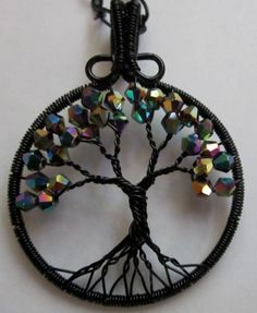 Sparkles in the Night Tree of Life by Mariesinspiredwire on Etsy, $40.00