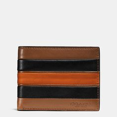 Modern Varsity Stripe Slim Billfold Wallet in Smooth Leather