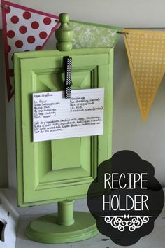 DIY - Recipe Holder -- Easy to make with a few pieces of wood, this one is from a small cabinet or drawer front, a spindle or drawer pull for the top, a wooden base & a clothespin to atttach for holin