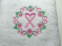 Embroidered Cancer Wreath and Ribbon Hand by CreationsinStitches on etsy.