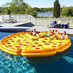 8-man Pizza Pool Float for the next summer party.          home accessory             fun stuff             home decor             pool             pool accessory             sun             summer             swimming             funny             bikini             pool party             swimwear             fashion             swimwear             floating             sunglasses             party             friends             instagram             food float             summer holidays