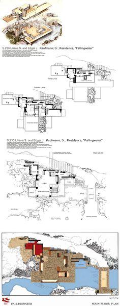 Fallingwater 落水荘データ → Fallingwater Photo Tour (画像が多いので開くまでに相当の時間がかかります) Fallingwaterベストショット 住所: 1491 Mill Run Road、Mi... House Design Drawing, House Drawing, Falling Water Frank Lloyd Wright, Falling Water House, House Sketch, Condominium, Designs To Draw, My House, House Plans