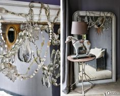 Chandelier crystals over French antique mirror.  Love it!