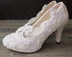 Wedding White Ivory Lace Party Bridal Bridesmaid Flat High Low Heels shoes 5-12