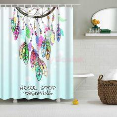 Bathroom Shower Curtain Feather Windchime Hanging Sheer Waterproof W/ Hook