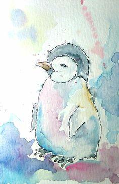 Pinguinbaby,+Aquarell+von+Farbrausch+auf+DaWanda.com