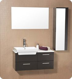 Fresca Caro Solid Wood Espresso Modern Bathroom Vanity w/ Mirrored Side Cabinet