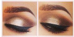 Gorgeous Brown Eyeshadow and Black Eyeliner Makeup .