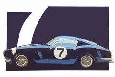 JYT acrylic on canvas painting of Stirling Moss first Ferrari 250 SWB.  With the legendary livery and number 7 with which he won Goddwood tourist trophy in 1960.