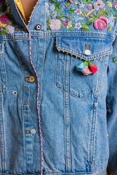 P Ro Limited Edition Beaded Denim Jacket Santa Fe Dry ! p ro limited edition perlen jeansjacke santa fe dry ! p ro limited edition beaded denim jacket santa fe dry Denim Jacket Embroidery, Embroidery On Clothes, Shirt Embroidery, Embroidered Clothes, Beaded Embroidery, Embroidery Ideas, Santa Fe Dry Goods, Diy Clothes, Diy Fashion