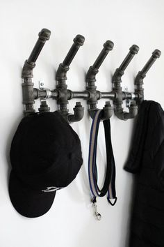 9 DIY Hat Rack Ideas for Any Home Hanging Coat Rack Industrial Black Iron Pipe Hooks for Hanging Coat Rack Industrial Black Iron Pipe Hooks for Industrial Pipe, Industrial House, Industrial Furniture, Industrial Shelving, Industrial Stairs, Industrial Office, Industrial Design, Industrial Coat Rack, Rustic Stairs