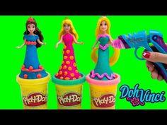 Play Doh DohVinci Sparkle Dresses Disney Princess Magiclip Dolls Make Doll Dresses Playdoh Glitter - YouTube