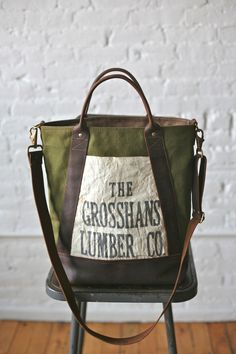 1940s era Canvas  Leather Carryall - FORESTBOUND - A responsive Shopify theme...$140