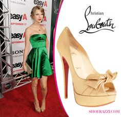 Taylor Swift in Christian Louboutin \u0026quot;Lavalliere\u0026quot; Bow Embellished ...
