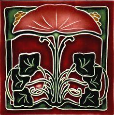 Historic Tiles - Moulded Art Nouveau Tiles - Fan Flower Burgundy