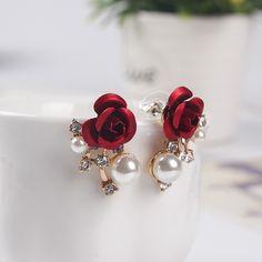 Women Fashion Alloy Stud Earrings Cute Red Flower Pearl Earrings Stud Jewelry 3B5023