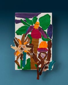 Jumping Jungle Collage craft - paper tearing collage craft with panda and bamboo instead of other animals.