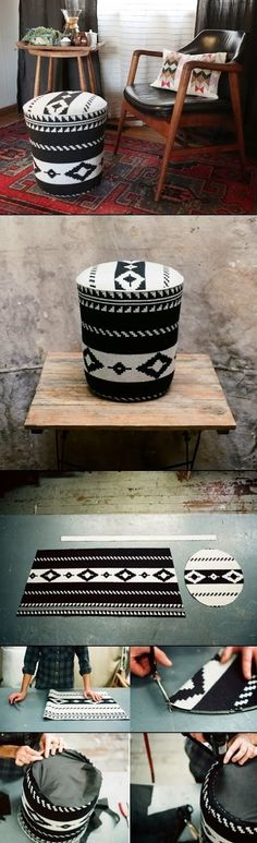 5 gallon bucket into storage ottoman and stool I need to make at least 3 of these!  What an awesome diy up cycle project for the living room!