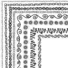 """8 Doodle Frames 12""""x12"""" or 8.5"""" x 11"""" (A4) Clip Art Set, Digital Clip Art borders -- Buy 1 GET 1 FREE. $5.00, via Etsy."""