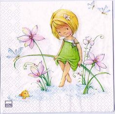 Decoupage Paper Art Napkin | Girl with Flowers and Fish by Chiarotino on Etsy