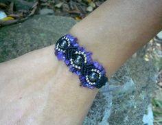 Bracelet bohème ethnique pierres améthyste et hématites - noir argenté violet : Bracelet par stonanka