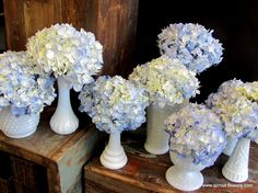 hydrangea in milk glass