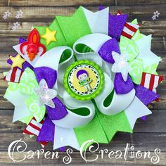 Buzz Lightyear, Toy Story bow, stacked boutique bow, hair bow, Disney, over the top, space ranger, girls hair accessories