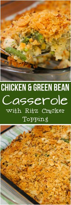 Chicken Green Bean Casserole with a Crispy Ritz Cracker topping. This easy chick. Chicken Green Bean Casserole with a Crispy Ritz Cracker topping. This easy chicken casserole recipe is made with frozen green beans and cream of vegetable soup. Healthy Casserole Recipes, Casserole Dishes, Ritz Chicken Casserole, Casseroles With Chicken, Fall Casseroles, Healthy Chicken Casserole, Easy Green Bean Casserole, Easy Dinner Casserole, Easy Chicken Dishes
