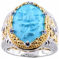 Michael Valitutti Two-tone Turquoise Cameo and Blue Sapphire Ring ($88) ❤ liked on Polyvore featuring jewelry, rings, blue, turquoise band ring, oval ring, wide-band rings, band rings y two tone band rings
