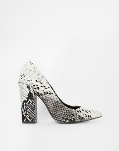 River Island | River Island Block Heel Court Snake Print Shoes at ASOS