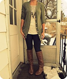 i'd rock: black jeggings w pockets (f21).  any white/ivory tank/shirt.  any cardi (possible royal blue (Unique)/blousey black (Target)/gma's cardi (Grandma G).  WANT: brown boots
