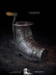 Print advertisement created by Filadelfia, Brazil for Marluvas Safety Boots, within the category: Fashion. Great Ads, Designer Boots, Graphic Design Posters, Illustrations And Posters, Things To Buy, Shoe Boots, Women's Shoes, Cowboy Boots, Footwear