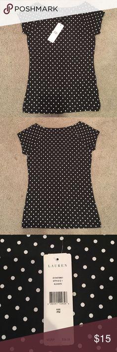 Lauren Ralph Lauren dress shirt 100% cotton Black with white polka dots Lauren Ralph Lauren Tops Tees - Short Sleeve