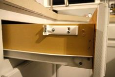 How to Install Slow Close Drawers - Charleston Crafted Kitchen Cabinets And Countertops, Old Cabinets, Kitchen Drawers, Cabinet Drawers, How To Make Drawers, Closed Kitchen, Home Upgrades, Charleston, Door Handles