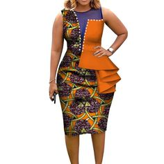 Fashion African Dresses for Women Bazin Riche African Print Cotton Midi Dress Sleeveless Bodycon Elegant Party Clothes - AliExpress Mobile Best African Dresses, African Traditional Dresses, Latest African Fashion Dresses, African Print Dresses, African Print Fashion, African Attire, Dress Fashion, Ankara Dress Designs, Ankara Dress Styles