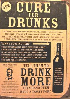 Retro (vintage) politically incorrect ads for curing drunkenness by drinking more alcohol. AA would certainly disapprove. Old Poster, Poster Vintage, Vintage Humor, Weird Vintage Ads, Retro Vintage, Pseudo Science, Party Quotes, Poster Design, Old Advertisements