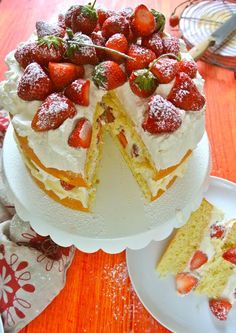 """Ruby Red Strawberry Victoria Sponge Cake with Lemon Mascarpone Filling"" recipe found at: foodonfifth.com teresablackburnfoodstyling.com"