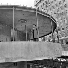 Frank Lloyd Wright inspected the construction of the @guggenheim on Manhattans Upper East Side. Sam Falk a @nytimes photographer took this photo just over two years before the museum opened to the public. The @nytimes critic who wrote about the opening which was 56 years ago this week could not conceal his feelings: The Solomon F. #Guggenheim Museum  is a war between architecture and painting in which both came out badly maimed he wrote. He went on to say Unfortunately the pictures disfigure…
