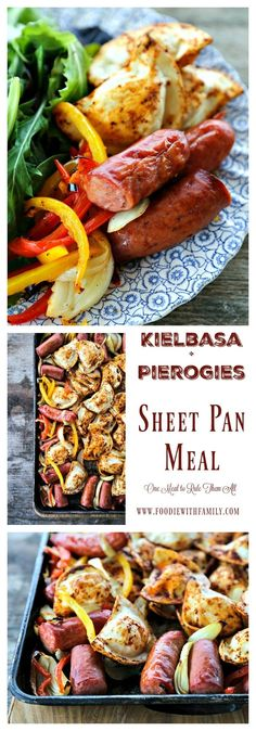 Kielbasa and Pierogies Sheet Pan Meal with juicy roasted kielbasa, crisp tender peppers and onions and puffy, potato filled pierogies.
