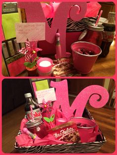 """Back to school teacher gift basket: """"I'm tickled pink to have you as my teacher"""" - incorporated teacher's favorite color (pink), candy (dark chocolate), drink (diet coke), cookie (chocolate chip), scent (tropical candle), and classroom wish list (sticky notes)"""