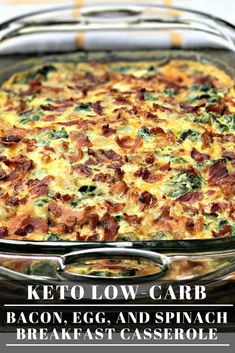 Low-Carb Keto Bacon, Egg, and Spinach Breakfast Casserole is the perfect quick and easy make-ahead, meal-prep dish with cheese, mushrooms, and peppers. This dish is keto friendly and perfect for keto diets. Serve this dish for your holiday breakfasts and brunch! #Keto #KetoRecipes #LowCarb #LowCarbRecipes Low Carb Keto, Low Carb Recipes, Diet Recipes, Cooking Recipes, Zoodle Recipes, Recipes Dinner, Ketogenic Recipes, Brunch Recipes, Keto Recipes With Bacon