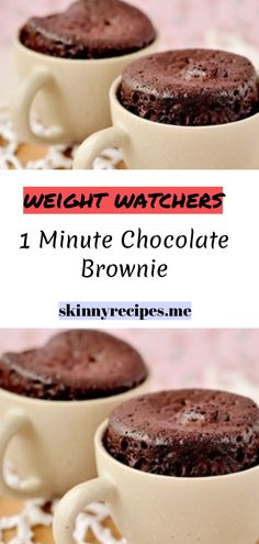 to Prepare: 2 Minutes to Cook: 1 Number of Servings: 1 Ingredients : 1 TBSP whole wheat flour 1 TBSP sugar (do not substitute) 1 TBSP unsweetened cocoa a pinch of baking soda a pinch of salt 1 TBSP of low fat Weight Watcher Mug Cake, Weight Watchers Brownies, Weight Watchers Muffins, Weight Watchers Diet, Weight Watchers Desserts, Weight Watchers Cheesecake, Ww Desserts, Healthy Desserts, Delicious Desserts