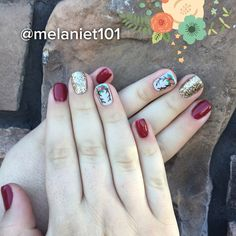 """7 Likes, 1 Comments - Melanie-hair&nails- (@melaniet101) on Instagram: """"These were so fun!!! Fall is here!! #fall #gelnails #antlers #floral #nails """""""
