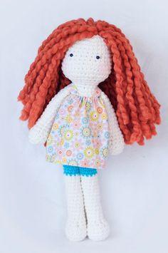 Red head crochet doll 16 long by LinaMarieDolls on Etsy