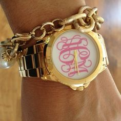 Love everything about this, the gold, the pink monogram. And it's my actual monogram! Jewelry Accessories, Fashion Accessories, Jewelry Box, Baby Monogram, Cricut Monogram, Monogram Stickers, Monogram Jewelry, Personalized Baby Gifts, Pandora