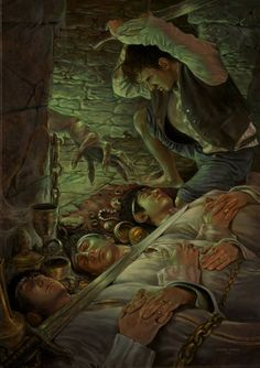 Frodo Rescuing Sam, Merry, & Pippin from the Barrow-Wight Jrr Tolkien, Fellowship Of The Ring, Lord Of The Rings, Barrow Wight, High Fantasy, Fantasy Artwork, Middle Earth, The Hobbit, Elves