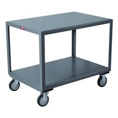 Mobile Table, Cap 1200 Lb, 2 Shelf, 30x48 by Jamco. $406.36. Mobile Table, Load Capacity 1200 lb., Overall Length 49 In., Overall Width 31 In., Overall Height 30 In., Caster Type 2 Rigid, 2 Swivel, Caster Material Urethane, Caster Size 5 In. x 1-1/4 In., Number of Shelves 2Material Welded Steel, Gauge 12, Color Gray, Powder Coat Finish, Includes 2 Shelves