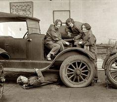 High school girls learning auto mechanics, 1922