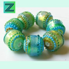 Lazy Day Mint Glimmer Strips - 7 shimmery glimmery beads - lampwork by Sarah Moran